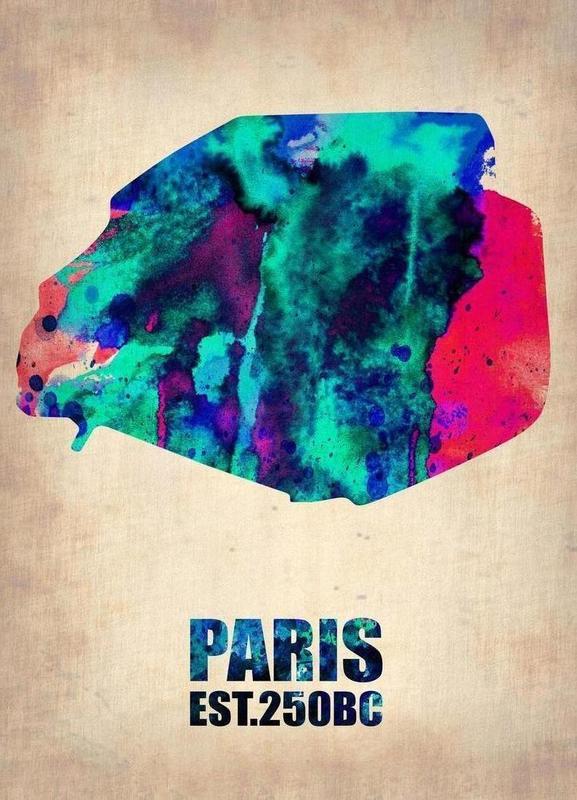 Paris Watercolor Map Canvas Print