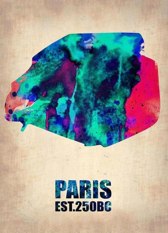 Paris Watercolor Map -Leinwandbild