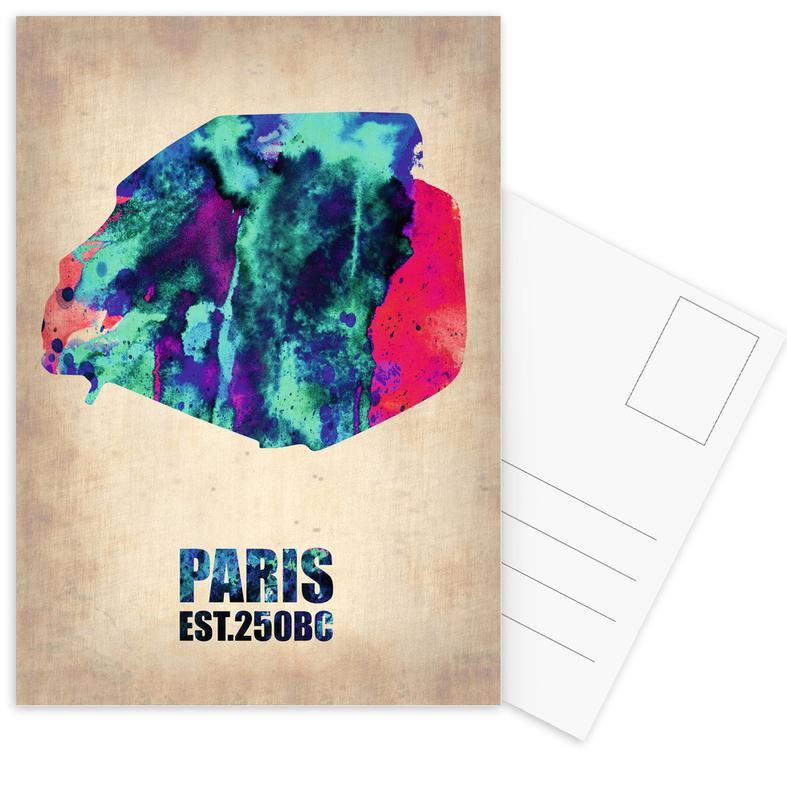 Country Maps, Travel, Paris, Paris Watercolor Map Postcard Set