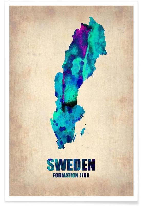 Voyages, Cartes de pays, Suède - Carte en aquarelle affiche