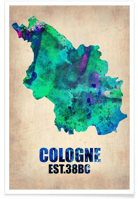 Cologne - Carte en aquarelle affiche