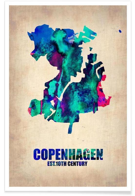 Copenhague, Voyages, Cartes de villes, Copenhague - Carte en aquarelle affiche