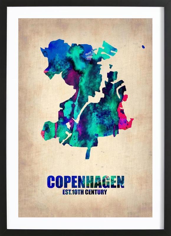 Copenhagen Watercolor Map -Bild mit Holzrahmen