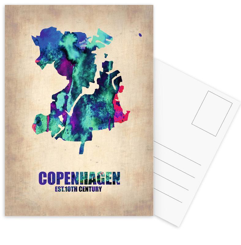 City Maps, Travel, Copenhagen, Copenhagen Watercolor Map Postcard Set