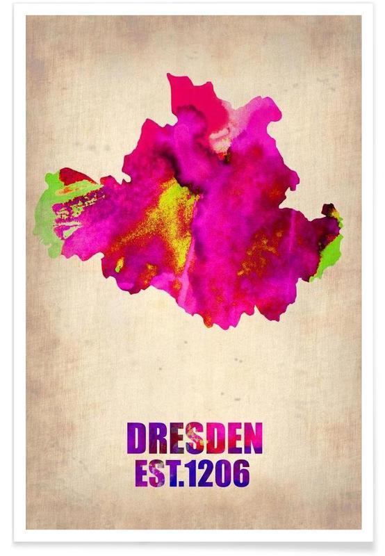 Cartes de villes, Voyages, Dresde - Carte en aquarelle affiche