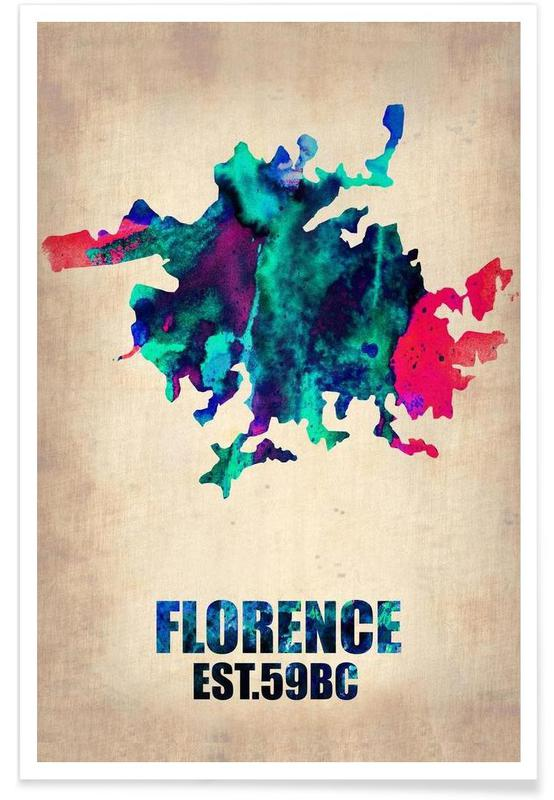 Bykort, Florence Watercolor Map Plakat