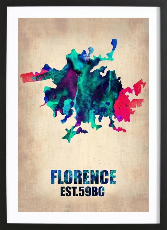 Florence Watercolor Map Framed Print