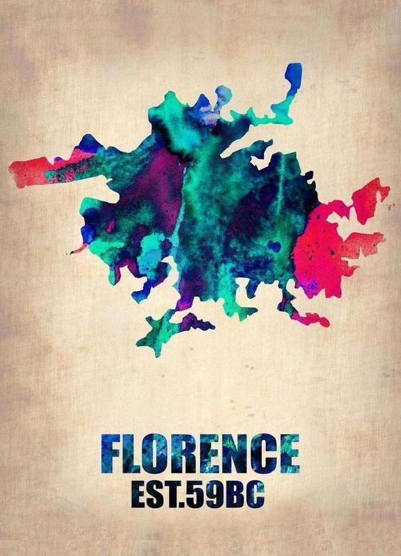 Florence Watercolor Map Canvas Print
