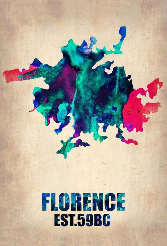 Florence Watercolor Map Aluminium Print