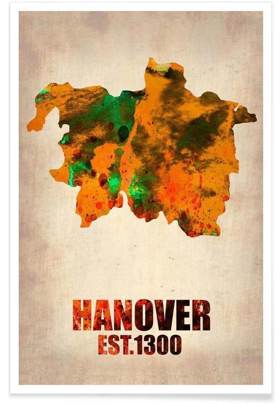 Cartes de villes, Voyages, Hanovre - Carte en aquarelle affiche