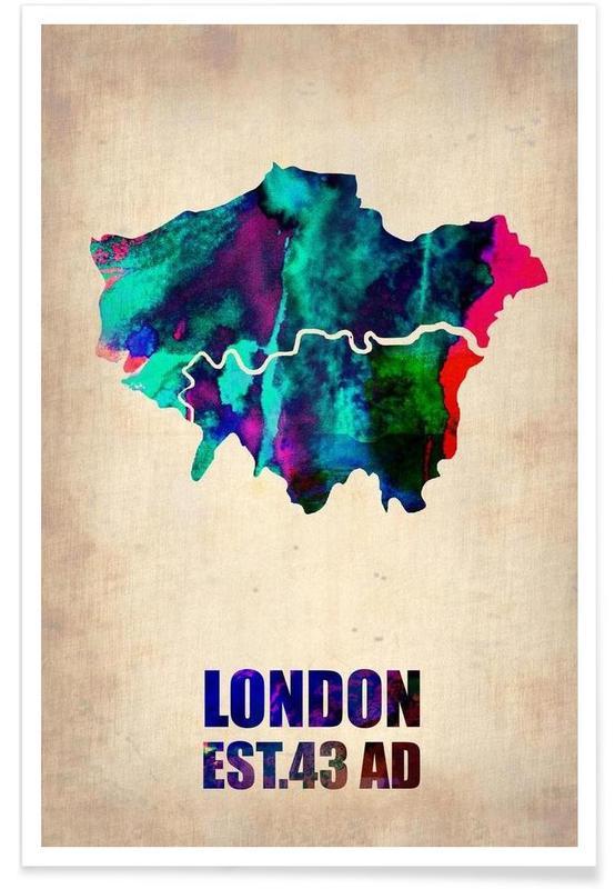 Londres, Cartes de villes, Londres - Carte en aquarelle affiche