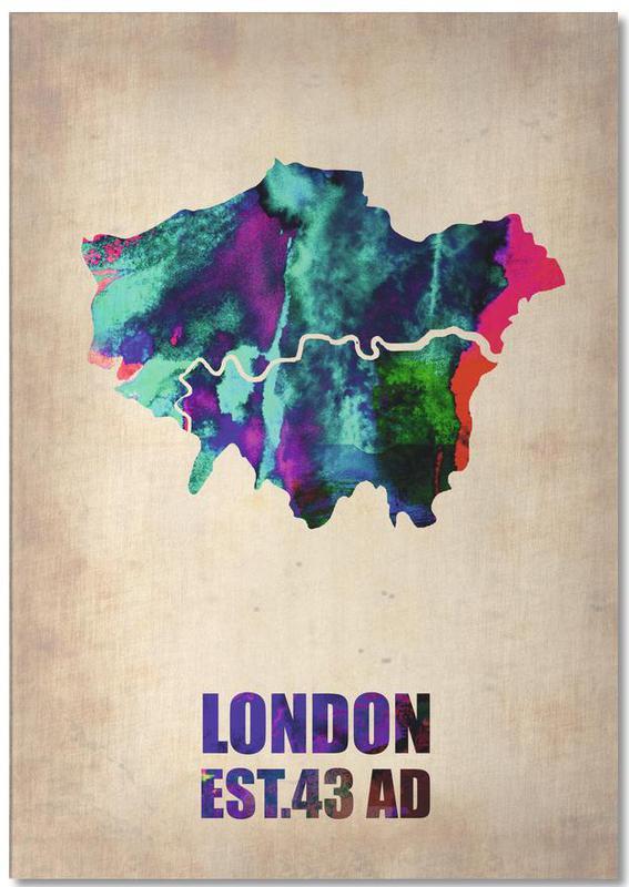 London, City Maps, London Watercolor Map Notepad
