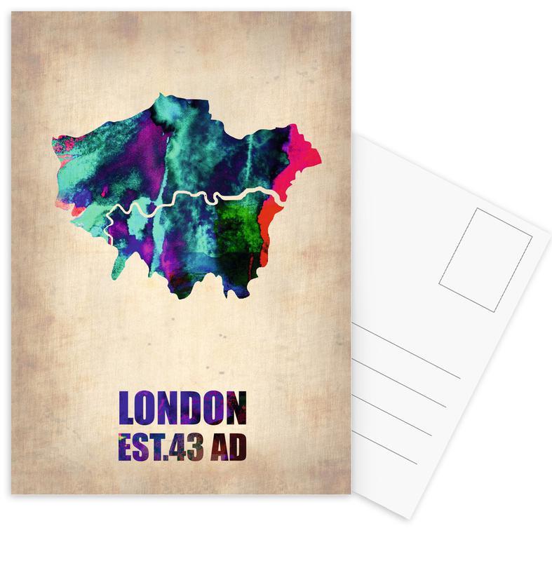 Londen, Stadskaarten, London Watercolor Map ansichtkaartenset