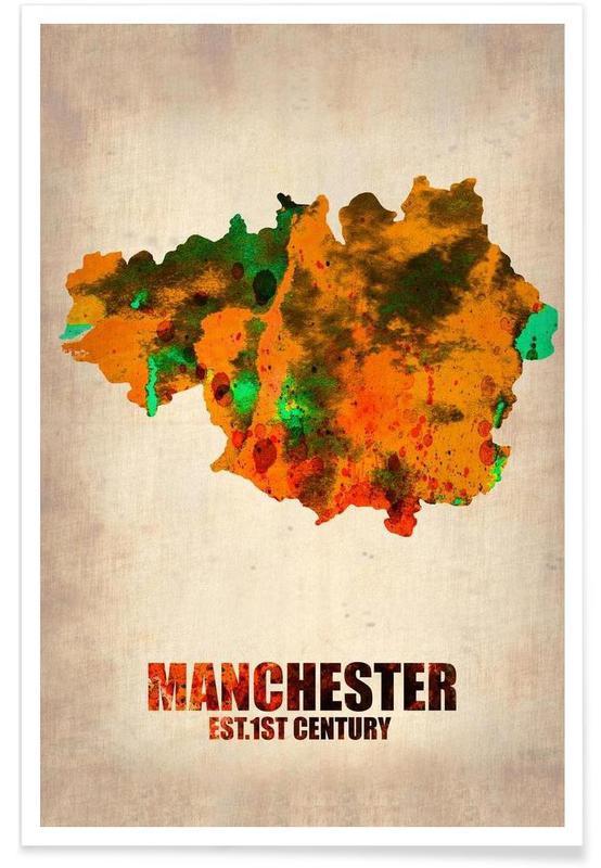 Bykort, Manchester, Rejser, Manchester Watercolor Map Plakat