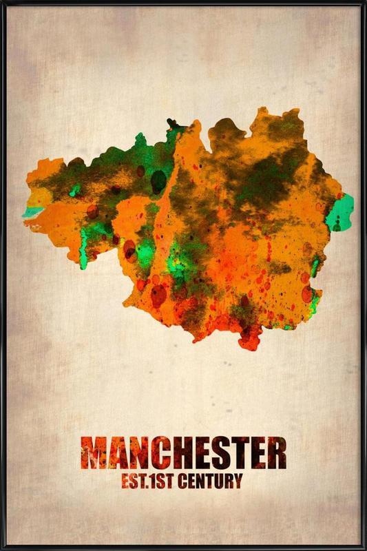 Manchester Watercolor Map -Bild mit Kunststoffrahmen