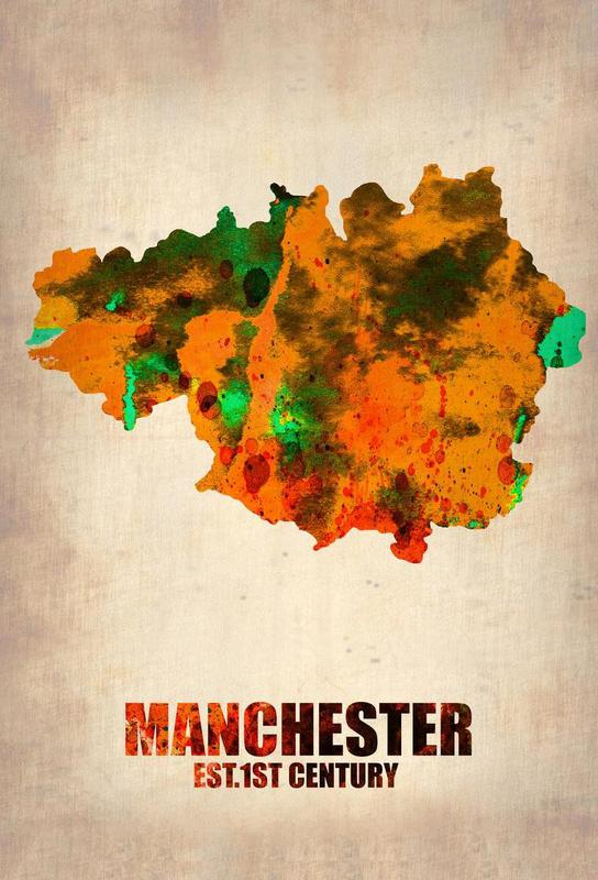 Manchester Watercolor Map Acrylic Print