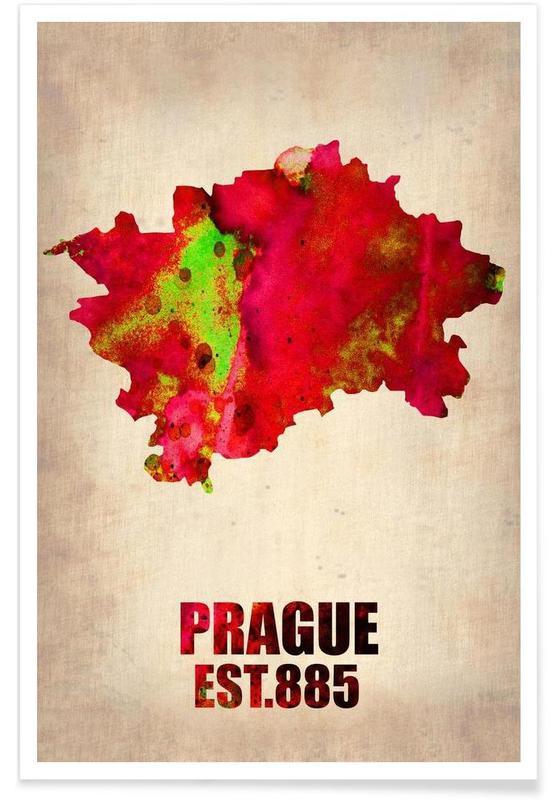 Prague - Carte en aquarelle affiche