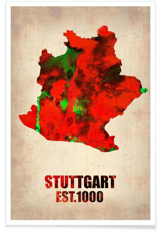 Bykort, Stuttgart Watercolor Map Plakat