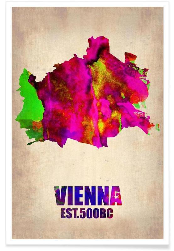 Vienne - Carte en aquarelle affiche