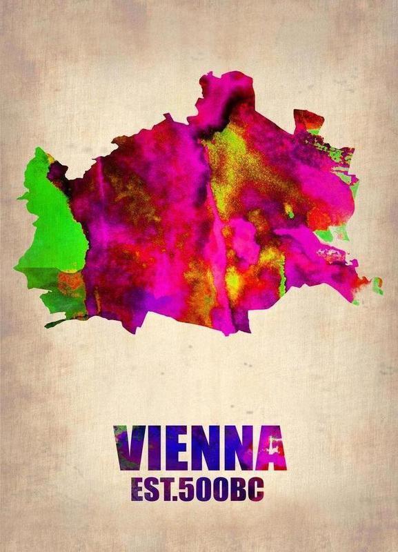 Vienna Watercolor Map toile
