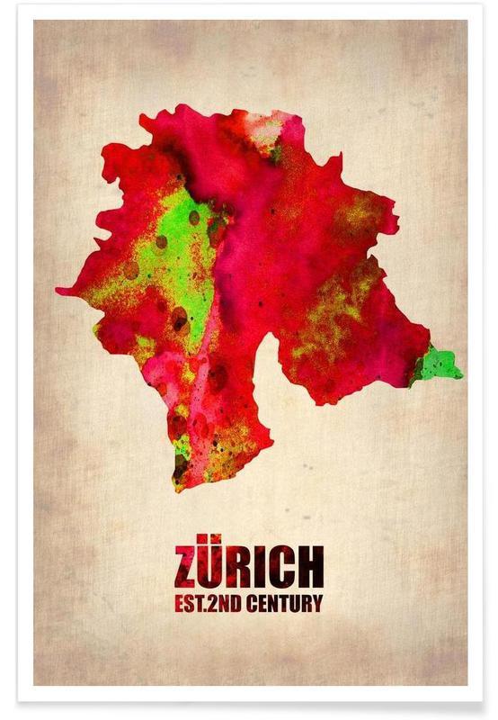 Zurich, Cartes de villes, Zurich - Carte en aquarelle affiche