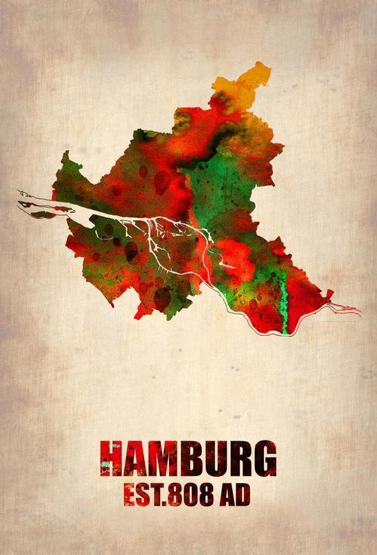 Hamburg Watercolor Map Aluminium Print