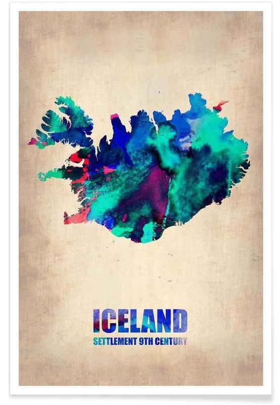 Cartes de pays, Islande - Carte en aquarelle affiche