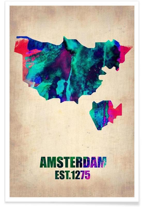 Cartes de villes, Voyages, Amsterdam - Carte en aquarelle affiche