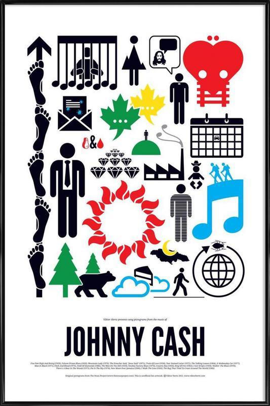 Johnny Cash ingelijste poster
