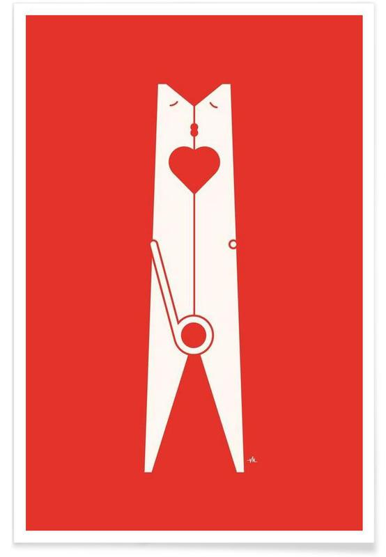 Clothespin kiss Poster
