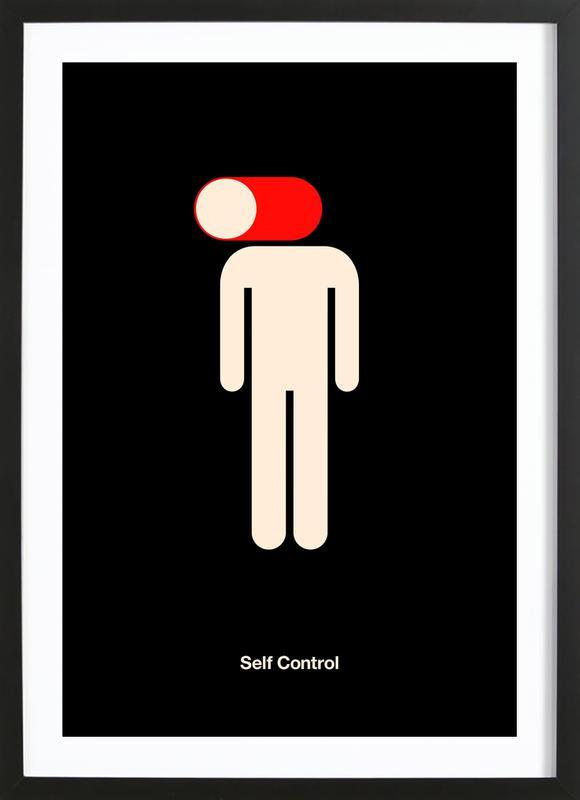 Self Control affiche sous cadre en bois