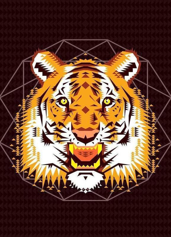 Geometric Tiger Canvas Print