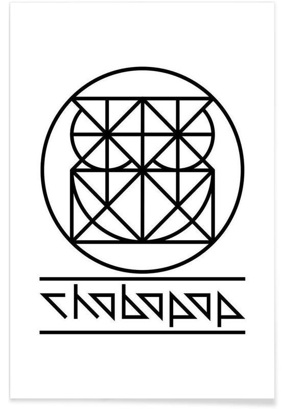 Black & White, Owls, Owl Logo Poster