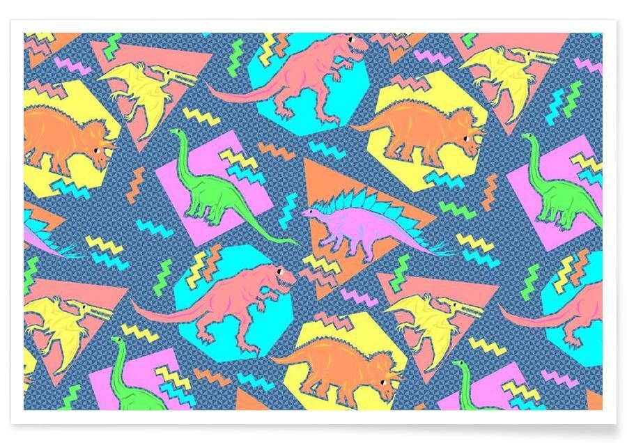 90's Dinosaur Pattern affiche