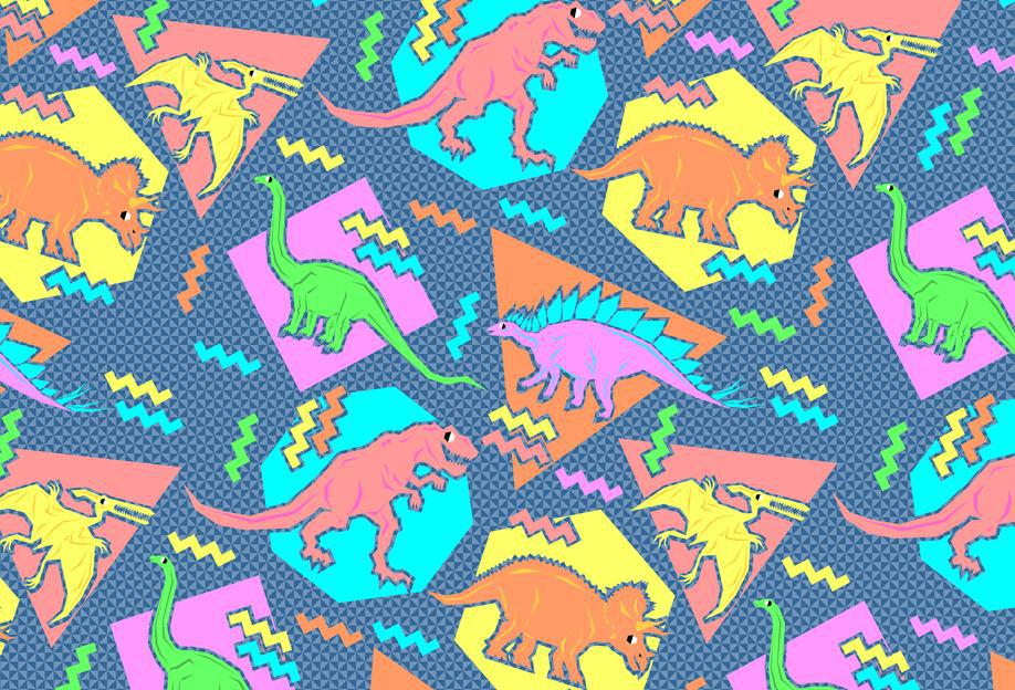 90's Dinosaur Pattern Acrylic Print