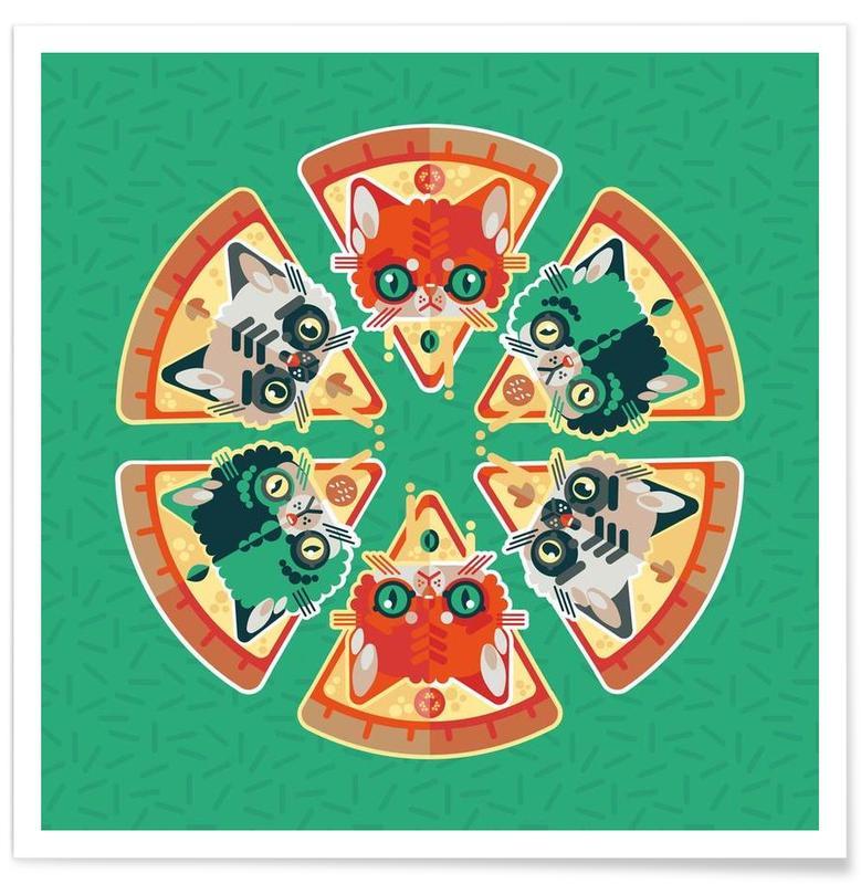Katzen, Pizza, Pizza Slice Cats -Poster