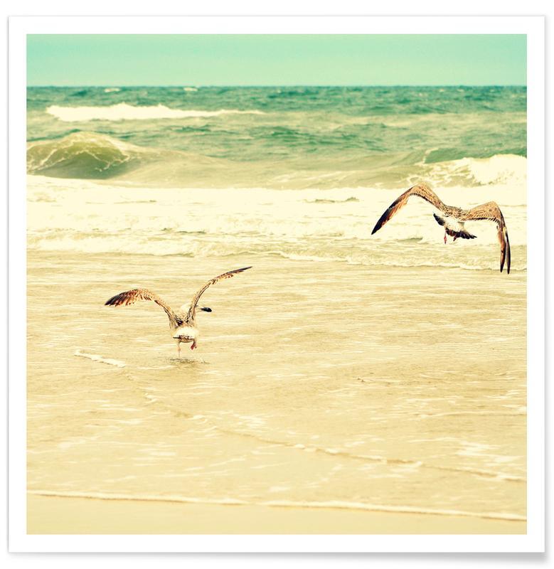 Stranden, Meeuwen, Karatekidpose poster