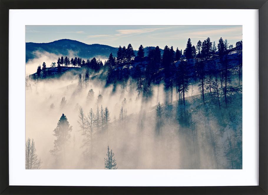 Mountaintop Living affiche sous cadre en bois